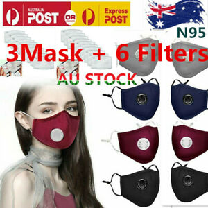 Adult Anti Air Pollution Face Mask Respirator 3Mask+6 Filters Washable Reusable