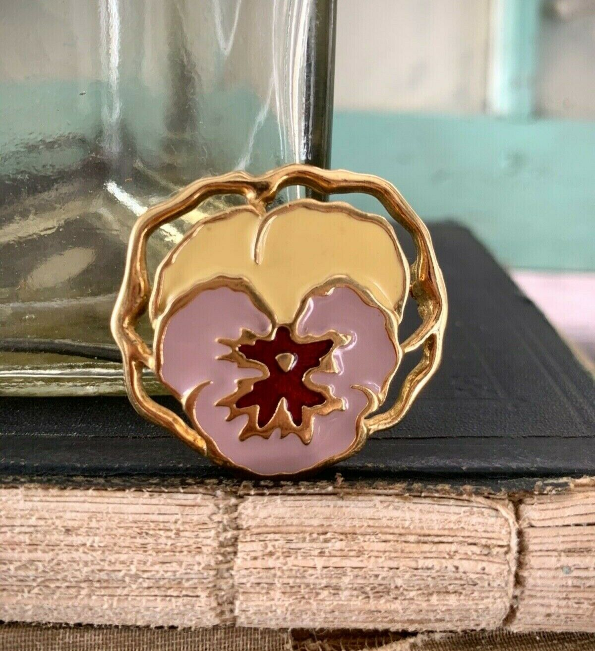 Vintage Gold Plated and Enamel Purple Pansy Pin, … - image 1