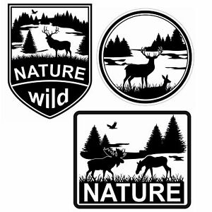 Nature-3er-Aufkleber-Set-6x8cm-7cm-Aufkleber-Folie-Zubehoer-Auto-Sticker-R051