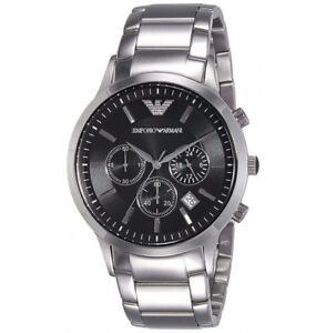 b1472b27f5ee8 Image is loading EMPORIO-ARMANI-AR2434 -MENS-STAINLESS-STEEL-CHRONOGRAPH-WATCH-