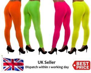 Women/'s Ladies Neon Bright Colour Leggings Stretch Plain Gym Legging Dance Pants