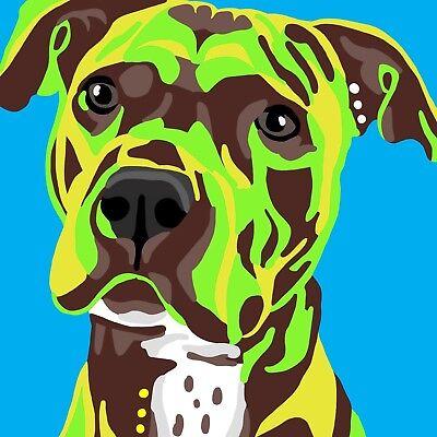 Dog Abstract Art Animal funny love high quality Canvas Print Home Decor Wall