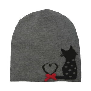 85d0815c5e3 Image is loading Alice-Hannah-Flossy-Knitted-Jaquard-Cat-Beanie-Hat-