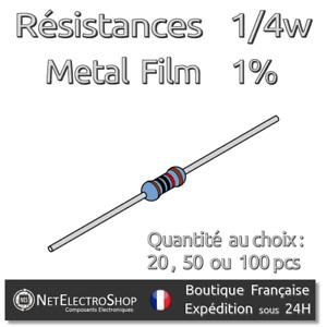 Résistances 220 Ohms 220R Couche Métal 1//4W 1/% Lot de 20 50 ou 100pcs