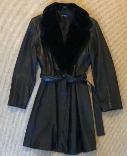 John Carlisle Leather Jacket Faux Fur Collar
