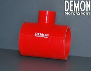 Red-Silicone-Hose-T-Piece-70mm-2-75-034-Inch-4-Ply-30mm-Branch-Demon-Motorsport