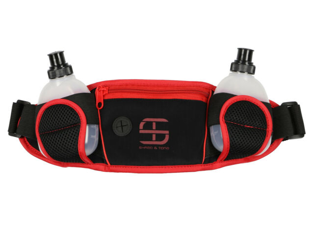 SHRED & TONE Dual Water Hydration Waistpack Black Red Media Slot 6 oz Bottles