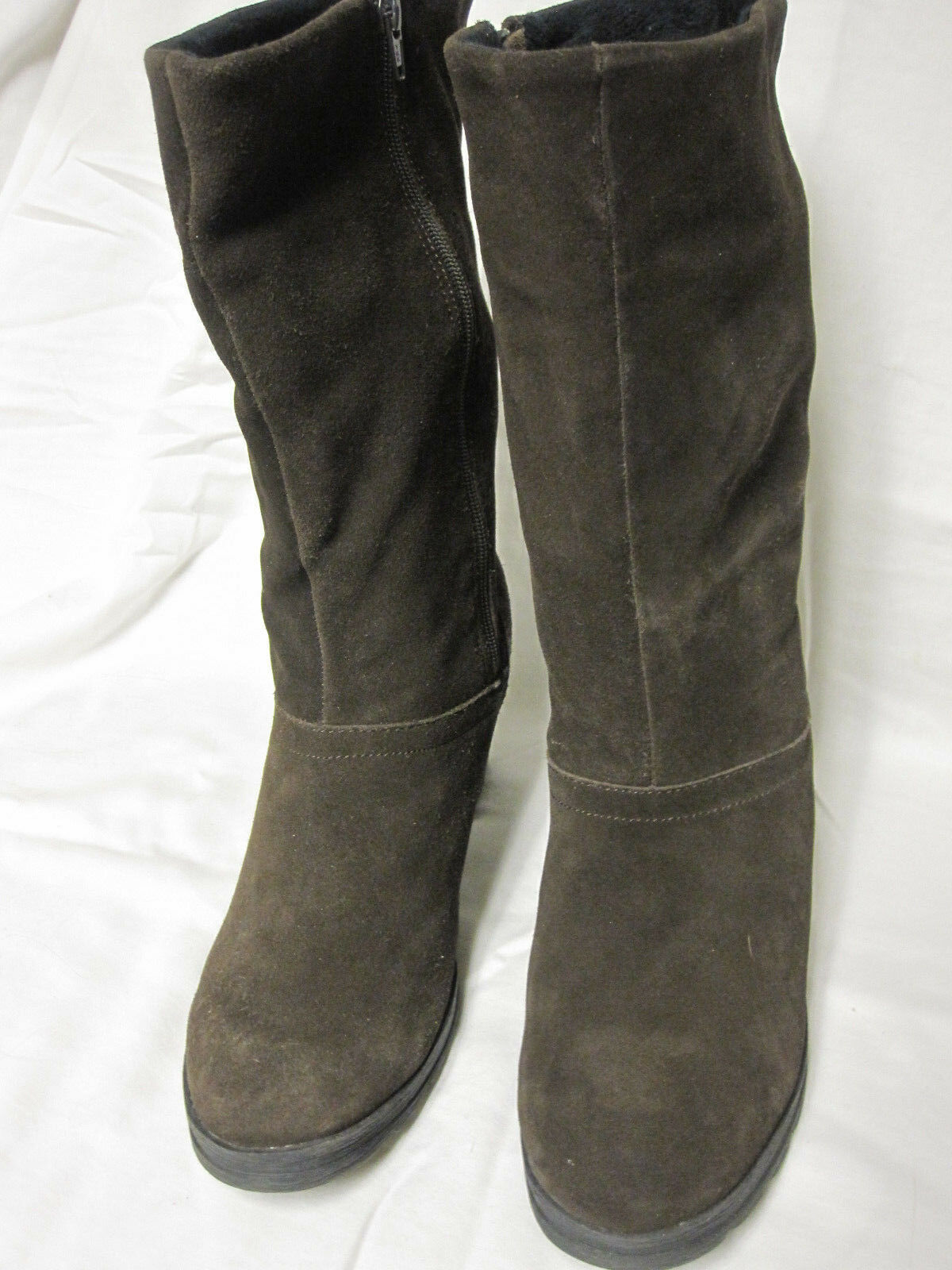 """Cougar Women's 'Marni' Suede Leather Boots Brown Size 11 Heel Height 3"""" Medium"""