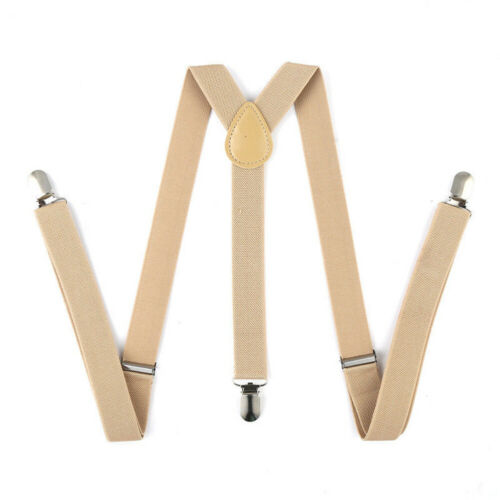 Retro Elastic Y-Shape Braces Men Women Solid Color//Stripe Adjustable Suspenders