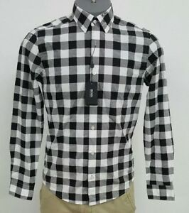 cffc2a443 HUGO BOSS Black Lance Black White Checked L/S Men's Shirt NWT $155 ...