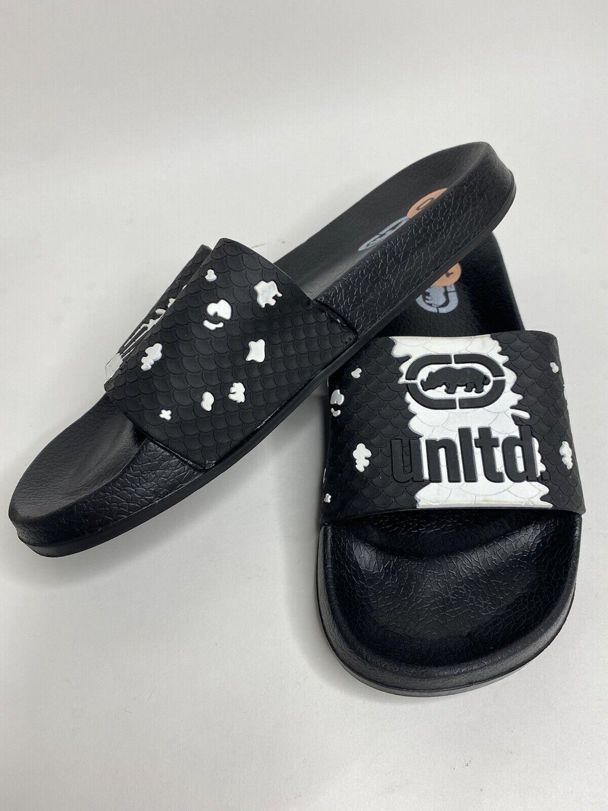 Men's Ecko Unltd Black Rubber Slides Sandals •Size 10 *NWOB
