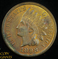 1898 1c Indian Head Cent Uncirculated Red Brown RB UNC Penny Toned Coin