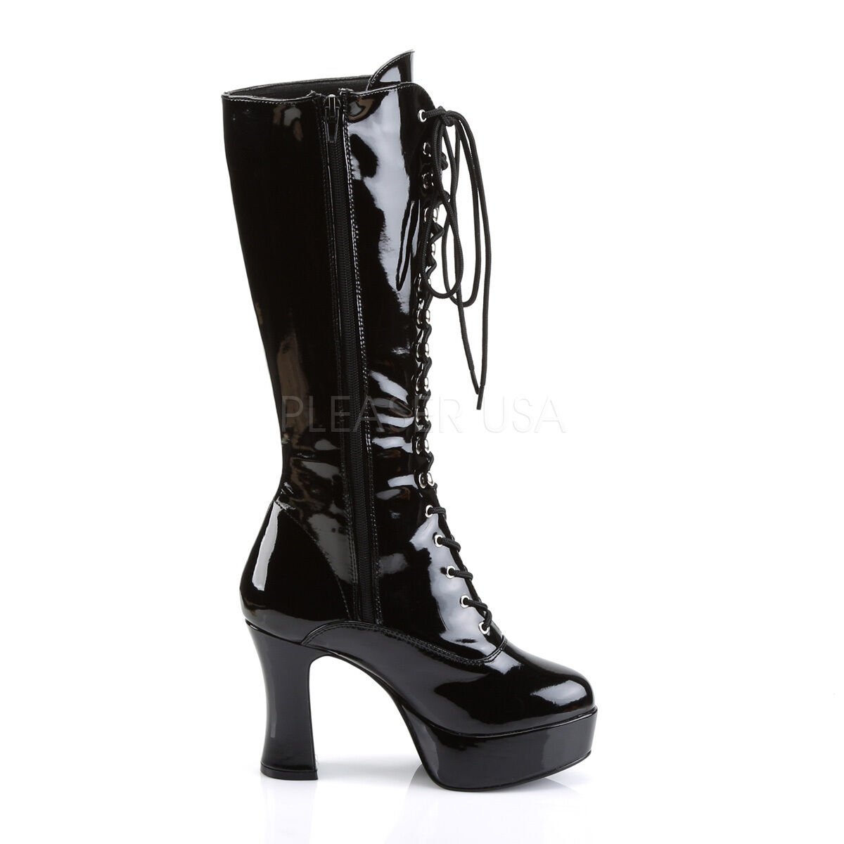 EXO2020 EXO2020 EXO2020 B Womens Black Patent Platform 4  Chunky Heel Lace Up Costume Knee Boots 10d512