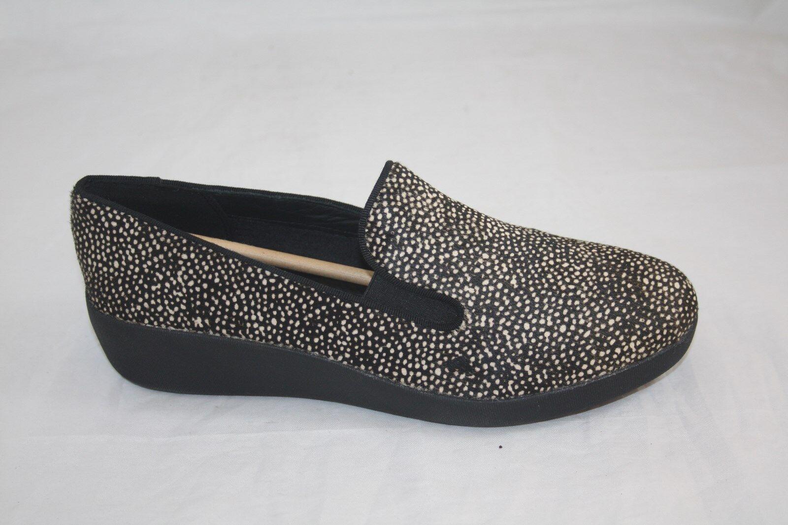 new wmns fitflop f-pop skate black mix flat real shoe real flat calf fur  msrp $140.00 9872ba