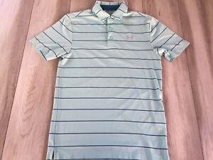 Under Armour Polo Shirt Men's Small Blue Striped Heat Gear Loose UA Golf **