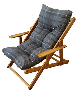 Sedie A Sdraio In Legno Imbottite.Poltrona Relax Imbottita Sdraio In Legno Da Giardino 3 Posizioni