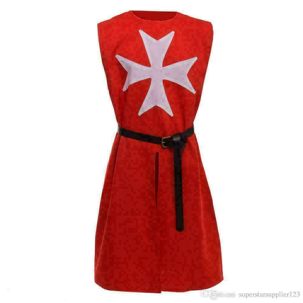 HALLOWEEN Medieval Reenactment Tunic Red Color White Templer Fancy Design Arming