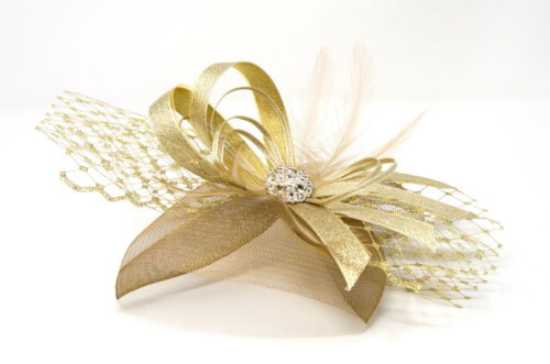 Metallic gold fascinator with diamantè and bead cluster on an alice band