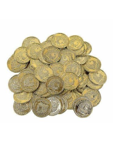 144 GOLD PLAY COINS PIRATE LOOT Treasure PARTY FAVORS PRIZES CARNIVAL BIRTHDAY