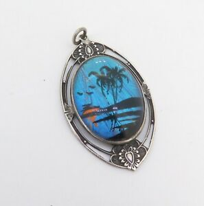 Vintage-1940-Hoffman-Sterling-Silver-Morpho-Butterfly-Wing-Hand-Painted-Pendant