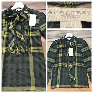 Burberry-Top-Blouse-Shirt-Olive-Green-Ruffles-Bow-Size-UK-6-BNWT