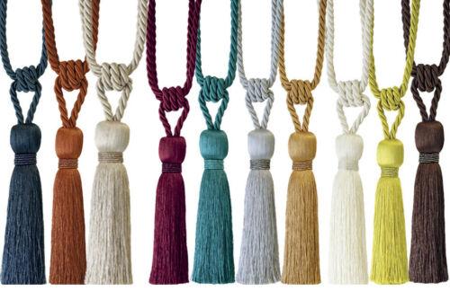 2 Milly Curtain Tiebacks Tassel Embrasses Crystal Trim Beaded Découpé Designer