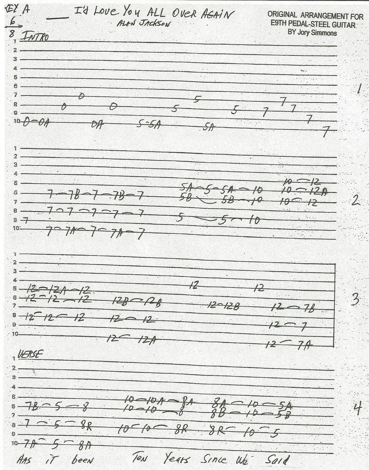 Songs Of Alan Jackson Tabbed For E9 Pedal Steel Guitar Ebay