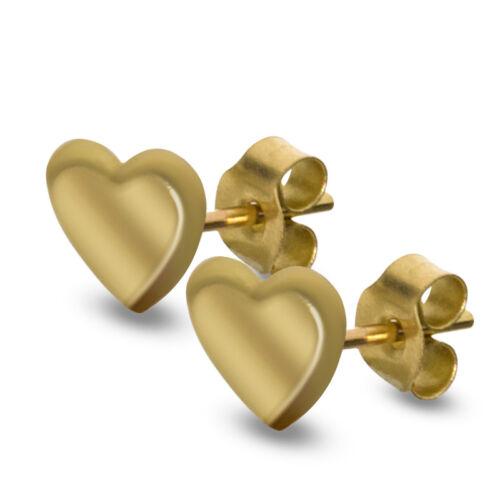 9CT GOLD HEART STUD EARRINGS POLISHED HANGING HEART PIERCED DISPLAY BOX