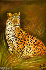 """Quality Oil Painting on Stretched Canvas 24""""x 36""""-Alert Cheetah"""