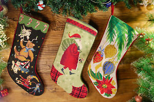 Hand-Crafted-Pretty-Needlepoint-Christmas-Stocking-Tedy-Bear-Santa-Clause-Toys