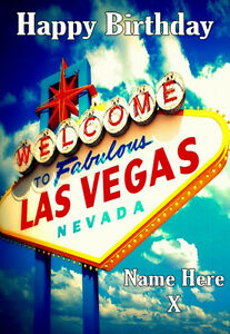 Image Is Loading WELCOME TO LAS VEGAS Personalised Birthday Card 1