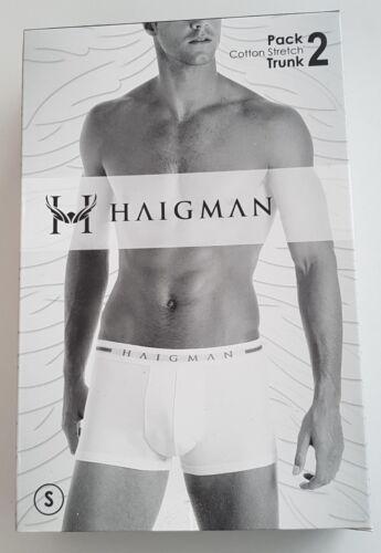 Men/'s Haigman 2 Paio Nero Boxer Trunks cintura nera misto cotone circonferenza