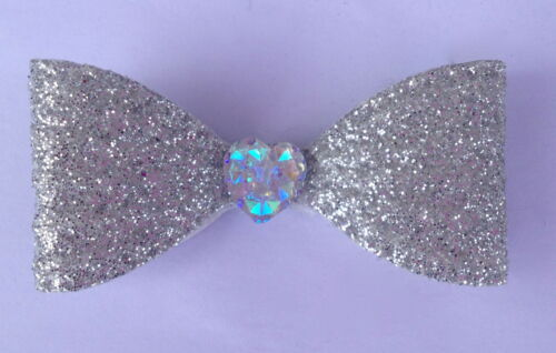 Glitter Hair Bows with Crystal Love Heart Christmas Small Alligator Clips
