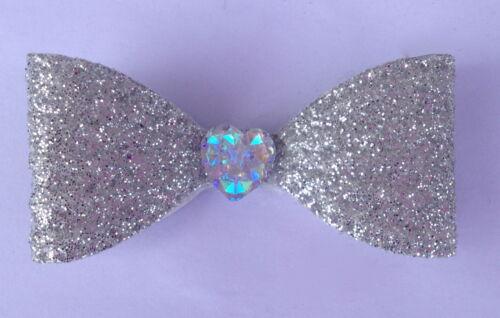 Glitter Fiocchi Per Capelli Con Cristallo Amore Cuore Natale Piccola morsetti a coccodrillo