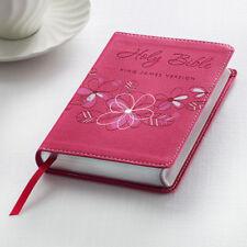 KJV HOLY BIBLE King James Version Pink Faux Leather Floral Pocket Edition NEW