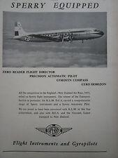 10/1953 PUB SPERRY FLIGHT INSTRUMENTS GYROPILOT DC-6 KLM DUTCH AIRLINES AD