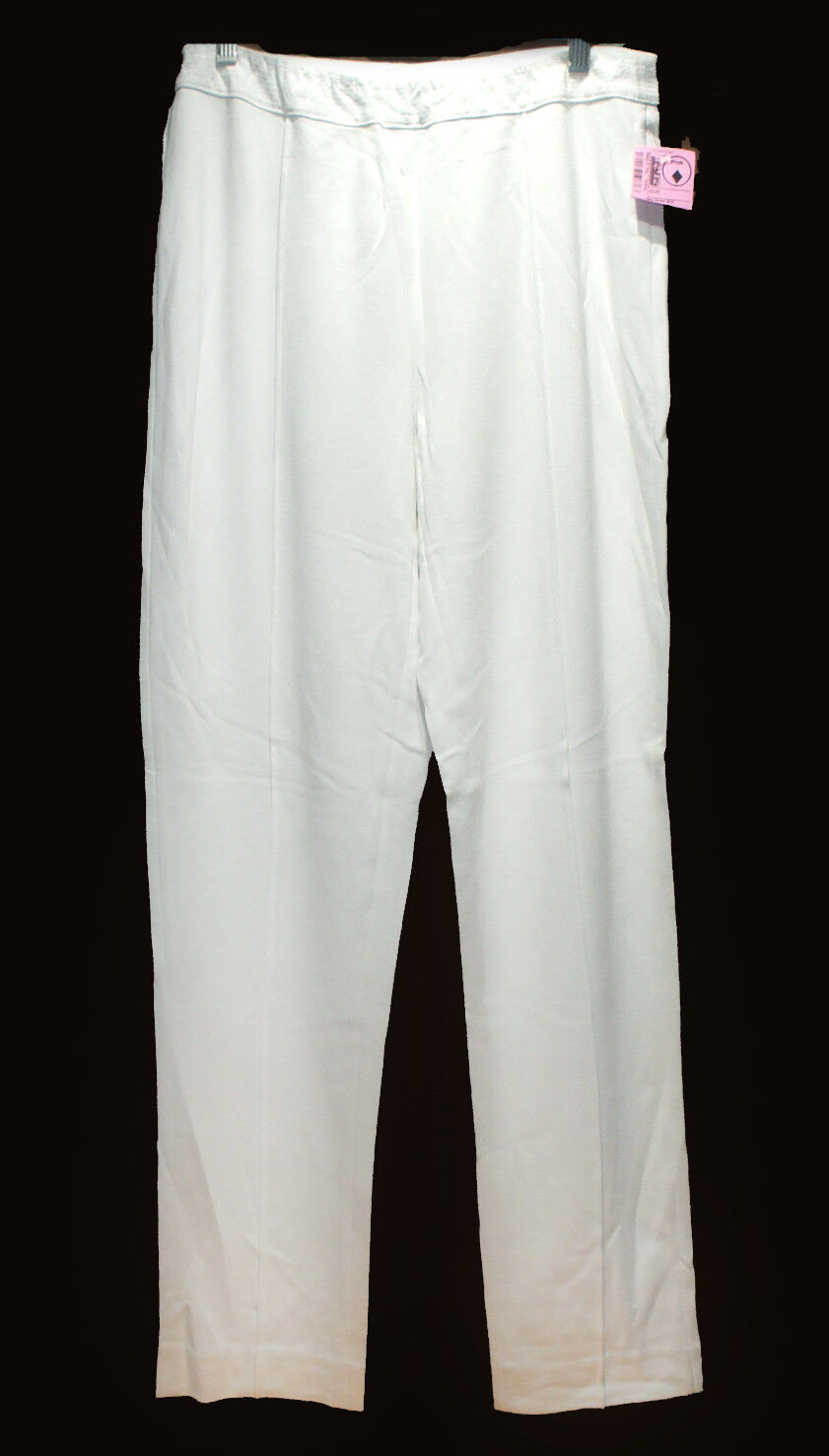 NEW Soft Surroundings WHITE Stretch Knit Slim Pants sz M Pull-On