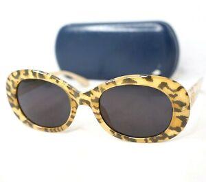 CHRISTIAN-DIOR-sunglasses-2957-yellow-beige-black-leopard-CD-logo-vintage-oval