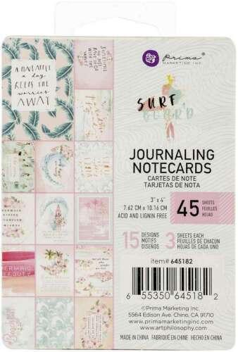 """Surfboard Journaling Cards 3/""""X4/"""" 45//Pkg 15 Designs//3 Each 655350645182"""