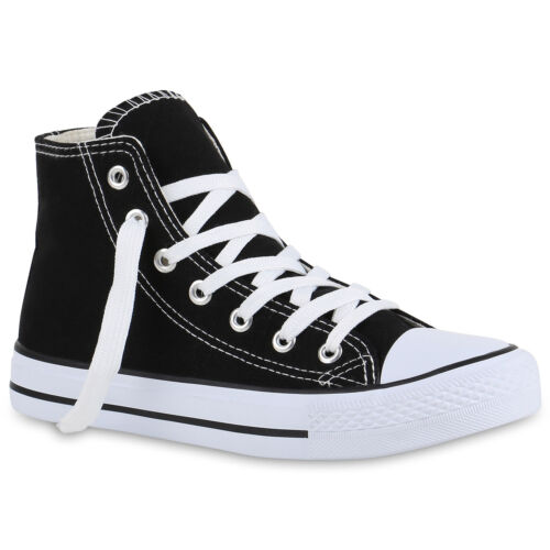 Damen Sneakers High Freizeit Denim Turnschuhe Sportliche Schuhe 79446 Trendy