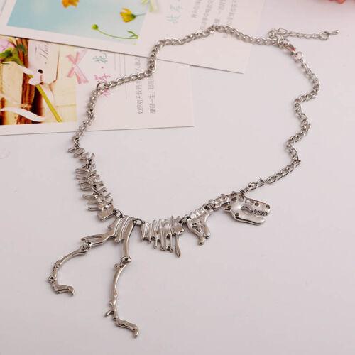 Punk Dinosaur Skeleton Skull BONE Tyrannosaurus T-Rex Necklace Chain Alloy LTUS