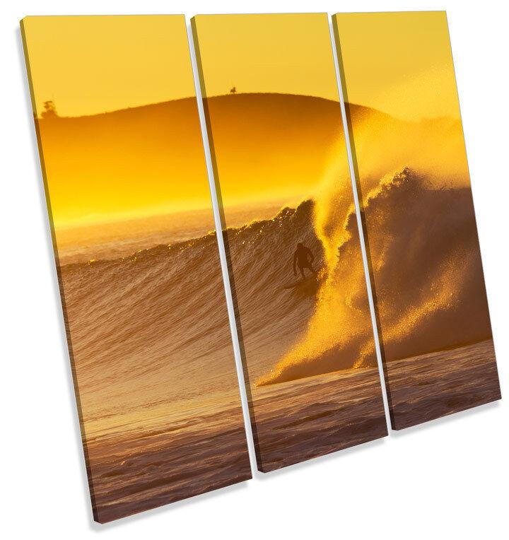 Surfer Sunset Sunset Sunset Beach WAVE SURF TREBLE TELA parete arte foto stampa quadrato 4032c0