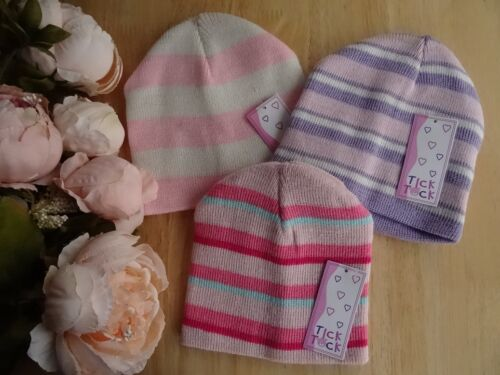 Double Knit Baby Girl Striped Pink Purple Cream Beanie Hat 3-6-12-24 mths
