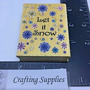 Hero-Arts-Rubber-Stamp-039-Let-it-Snow-039-Snowflakes-Wood-Mount
