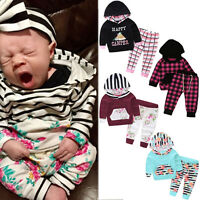 Toddler Kids Baby Boy Girls Hooded Tops Tracksuit+Long Pants Outfits 2PCS/Set UK