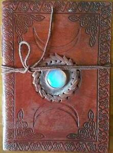 Leather-Triple-Moon-Goddess-Embossed-Book-of-Shadows-w-Moonstone-Center