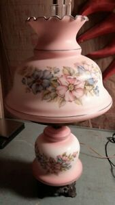 Vintage-Hurricane-Electric-Lamp-Pink-Painted-with-Floral-3-Way-Switch
