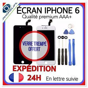 ECRAN PREMIUM LCD+VITRE TACTILE IPHONE 6 NOIR BLANC SUR CHÂSSIS  + VERRE TREMPÉ
