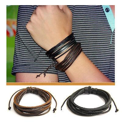 2x Fashion Women/Men Surfer Tribal Wrap Multilayer Genuine Leather Cuff Bracelet