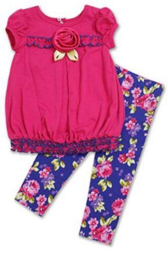 NEW Bonnie Baby Girl Pink//Blue Floral Dress /& Legging Set-Sz 6-9,12,18,24M-Or$44